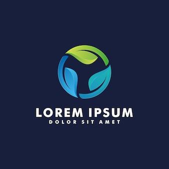 Green leaf logo design vector