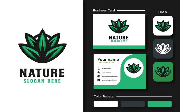 Набор брендинга шаблон логотипа зеленый лист