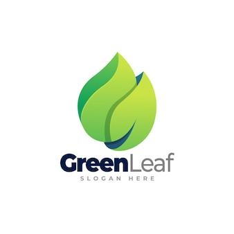Green leaf logo template design