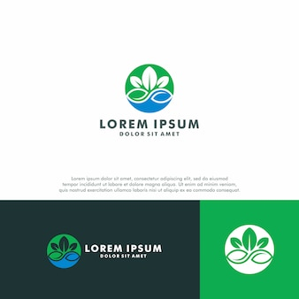 Green leaf logo template