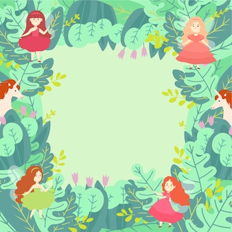 Green leaf magic compositions pattern round concept   illustration. wizard unicorn and magical fairy girl character.