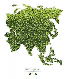 Green leaf map of asia