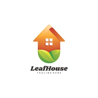 Green leaf nature house building logo