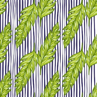 Green leaf seamless pattern on lines background. leaves ornament. foliage backdrop.