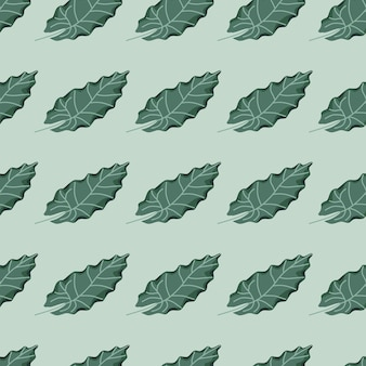Green leaf silhouettes seamless pattern in hand drawn botanic style.