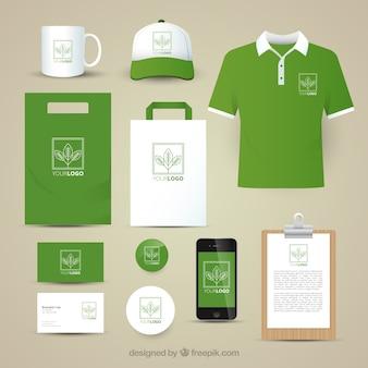 Коллекция канцелярских принадлежностей зеленый лист