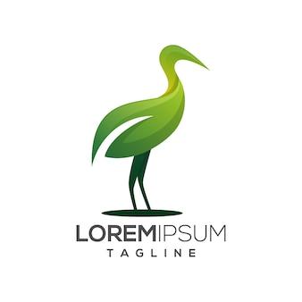 緑の葉のコウノトリヘロンのロゴのテンプレート