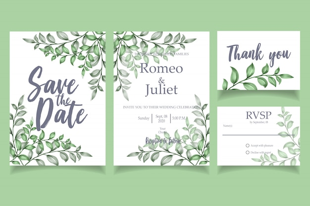 Green leaf watercolor invitation wedding party card floral template