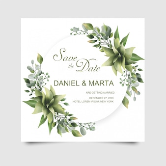 Green leaf watercolor style wedding invitation cards