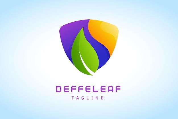 Green leaf with orange purple shield gradient logo vector