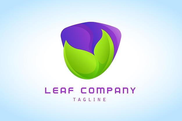 紫の盾のグラデーションのロゴと緑の葉