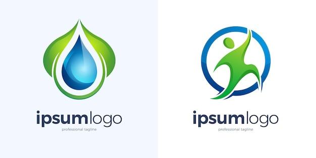 水滴と円のロゴのデザイン テンプレートで実行中の人間と緑の葉