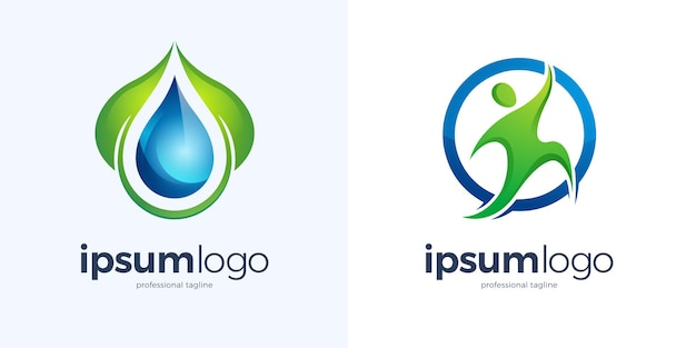 Green leaf with water drop and running human in a circle logo design template