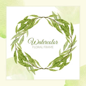 Green leaf wreath circle frame in watercolor