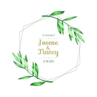 Green leaf wreath hand drawn wedding card template