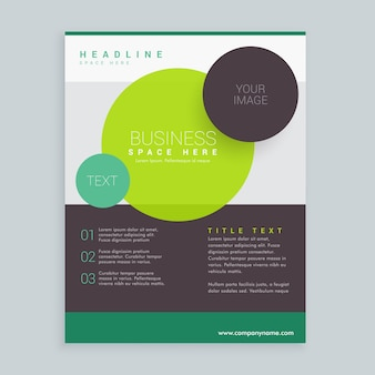 A4サイズの近代的な円のビジネスパンフレットチラシデザイン