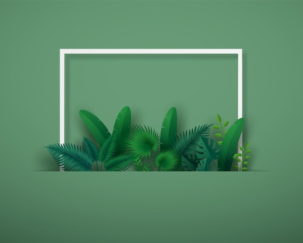 Green leafs or foliage with white square frame.