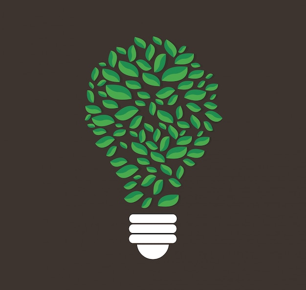 Green leafs in light bulb shape