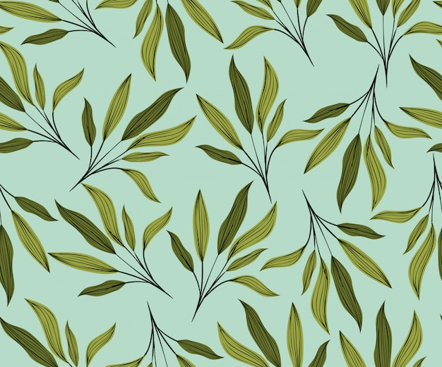 Green leafs natural pattern background