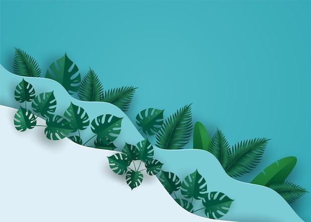 멀티 웨이브 레이어에서 녹색 잎 또는 단풍.