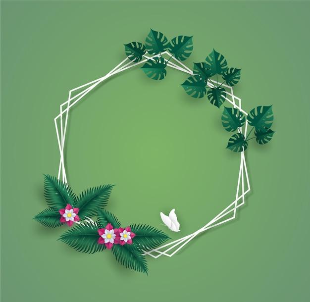 Зеленые листья или листва с белой рамкой круга.