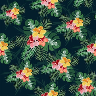 Green leave and tropical flower seamless pattern