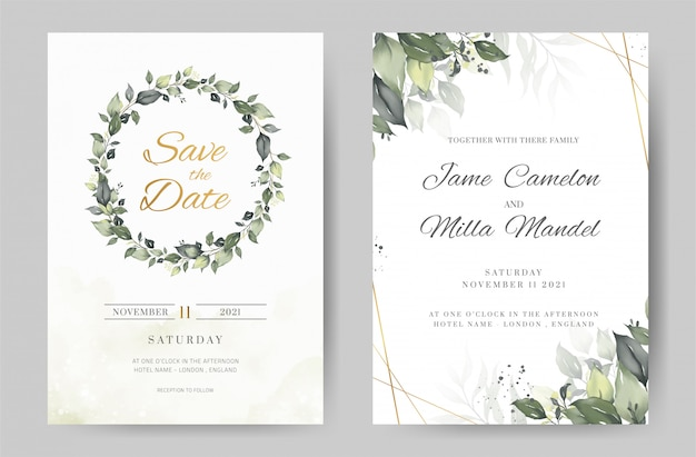 Green leave watercolor background invitation template. gold frame. greeting card.