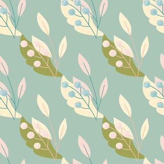 緑の葉とパステルベリーのナナカマドは、ヴィンテージスタイルのシームレスなパターンを印刷します