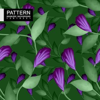 Зеленые листья и фиолетовые цветы бесшовные модели