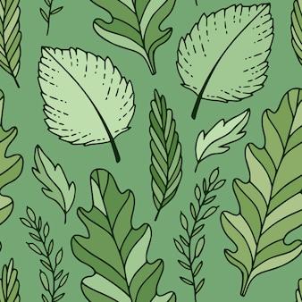 Зеленые листья фон. узор из ярко-зеленых листьев. дизайн ткани. текстиль и обои бесшовные модели.