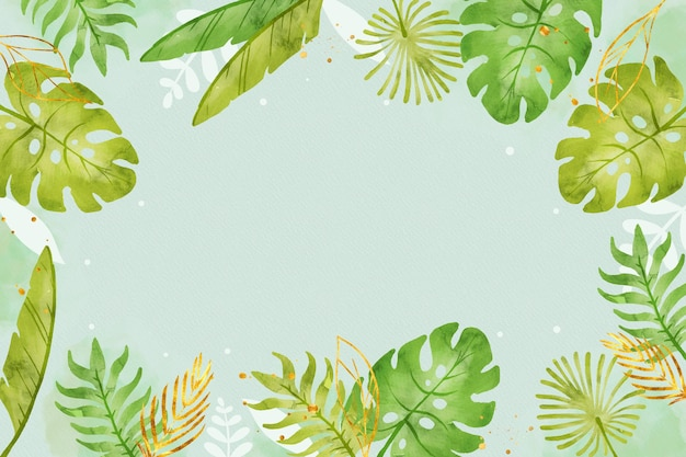 Green leaves background with golden foil