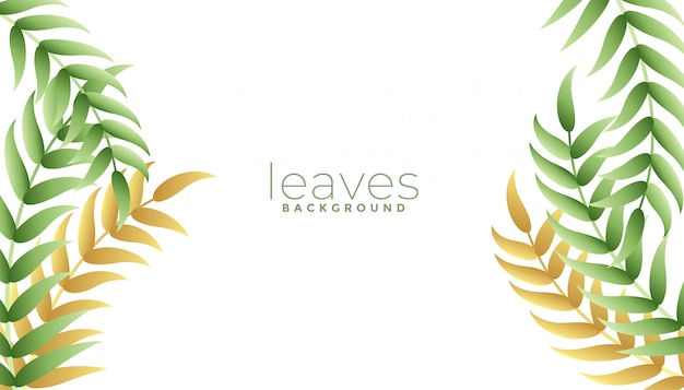 Green leaves background with white copyspace