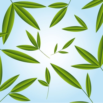 Green leaves over blue background vector illustration