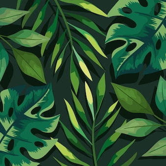 Green leaves and branches background
