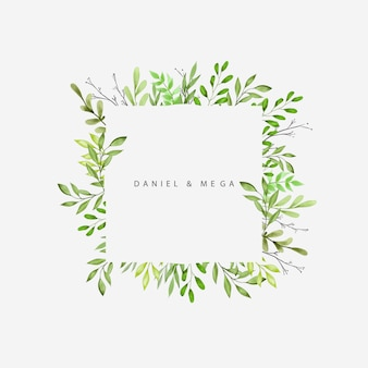 Green leaves and branches frame for wedding invitation