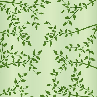 Green leaves & branches in spring background