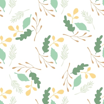 Green leaves and branches vector seamless pattern on white background. backdrop flat style for textile or book covers, wallpapers, design, graphic art, wrapping