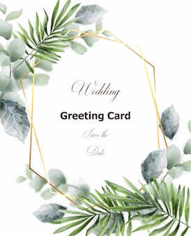 Green leaves card frame decor. wedding greeting card template