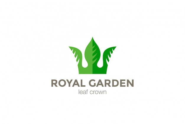Green leaves crown abstract logo design template. eco nature creative business logotype concept icon.