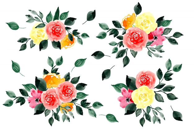Green leaves and flower arrangement watercolor collection