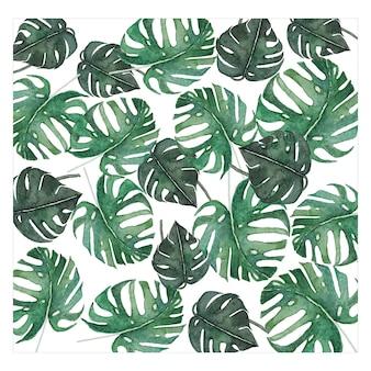 Зеленые листья листва акварель