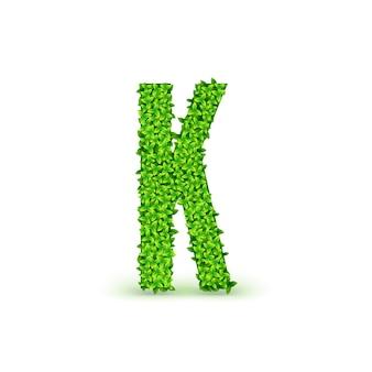 Шрифт green leaves. прописная буква k, состоящая из зеленых листьев, векторные иллюстрации.