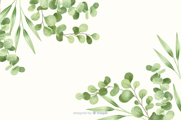 Green leaves frame abstract background