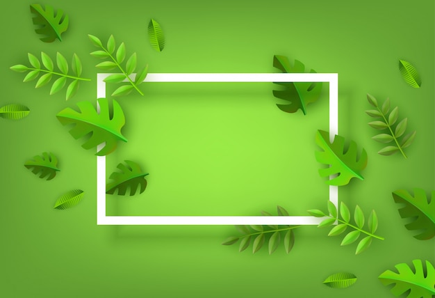 Green leaves frame background template