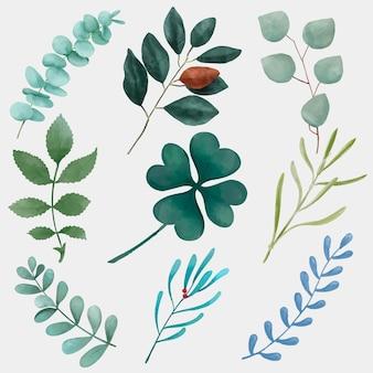 녹색 잎 손으로 그린 컷 아웃 세트
