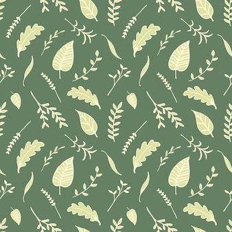 Green leaves hand drawn style vector seamless pattern.
