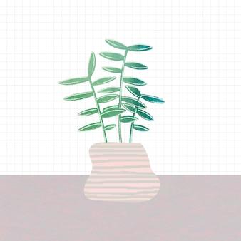 냄비에 녹색 잎