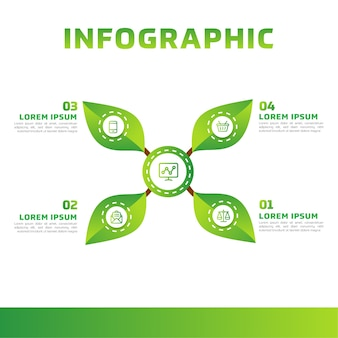 Green leaves infographic. green business diagram, and template.