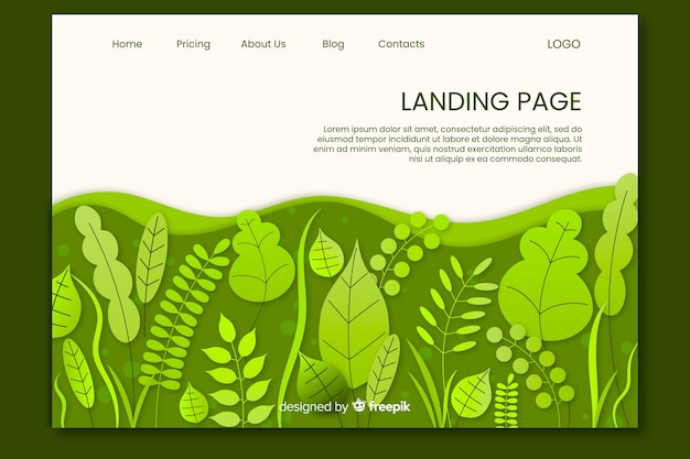 Green leaves landing page template