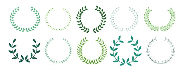 Green leaves laurel wreath collection